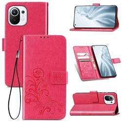 Embossing Imprint Four-Leaf Clover Leather Wallet Case for Xiaomi Mi 11 - Rose Red