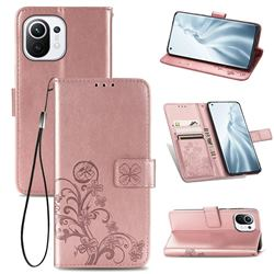Embossing Imprint Four-Leaf Clover Leather Wallet Case for Xiaomi Mi 11 - Rose Gold