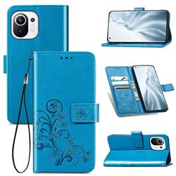 Embossing Imprint Four-Leaf Clover Leather Wallet Case for Xiaomi Mi 11 - Blue