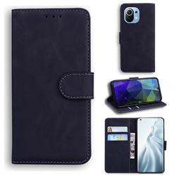 Retro Classic Skin Feel Leather Wallet Phone Case for Xiaomi Mi 11 - Black