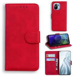Retro Classic Skin Feel Leather Wallet Phone Case for Xiaomi Mi 11 - Red