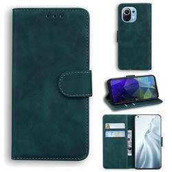 Retro Classic Skin Feel Leather Wallet Phone Case for Xiaomi Mi 11 - Green
