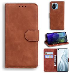 Retro Classic Skin Feel Leather Wallet Phone Case for Xiaomi Mi 11 - Brown
