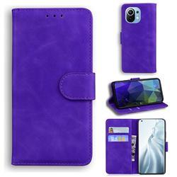 Retro Classic Skin Feel Leather Wallet Phone Case for Xiaomi Mi 11 - Purple