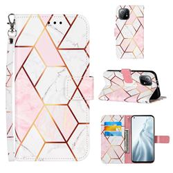 Pink White Stitching Color Marble Leather Wallet Case for Xiaomi Mi 11
