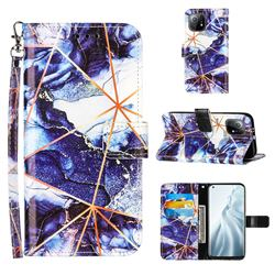 Starry Blue Stitching Color Marble Leather Wallet Case for Xiaomi Mi 11
