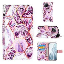 Dream Purple Stitching Color Marble Leather Wallet Case for Xiaomi Mi 11