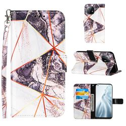 Black and White Stitching Color Marble Leather Wallet Case for Xiaomi Mi 11