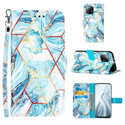 Lake Blue Stitching Color Marble Leather Wallet Case for Xiaomi Mi 11