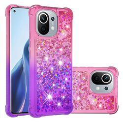 Rainbow Gradient Liquid Glitter Quicksand Sequins Phone Case for Xiaomi Mi 11 - Pink Purple