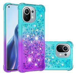 Rainbow Gradient Liquid Glitter Quicksand Sequins Phone Case for Xiaomi Mi 11 - Blue Purple