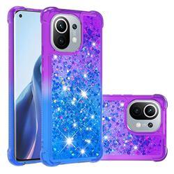 Rainbow Gradient Liquid Glitter Quicksand Sequins Phone Case for Xiaomi Mi 11 - Purple Blue