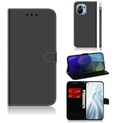 Shining Mirror Like Surface Leather Wallet Case for Xiaomi Mi 11 - Black