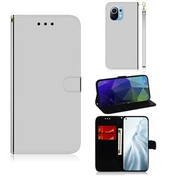 Shining Mirror Like Surface Leather Wallet Case for Xiaomi Mi 11 - Silver