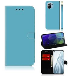 Shining Mirror Like Surface Leather Wallet Case for Xiaomi Mi 11 - Blue