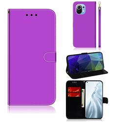 Shining Mirror Like Surface Leather Wallet Case for Xiaomi Mi 11 - Purple