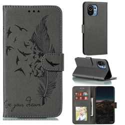 Intricate Embossing Lychee Feather Bird Leather Wallet Case for Xiaomi Mi 11 - Gray
