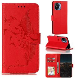 Intricate Embossing Lychee Feather Bird Leather Wallet Case for Xiaomi Mi 11 - Red