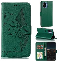 Intricate Embossing Lychee Feather Bird Leather Wallet Case for Xiaomi Mi 11 - Green