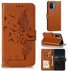 Intricate Embossing Lychee Feather Bird Leather Wallet Case for Xiaomi Mi 11 - Brown