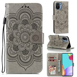 Intricate Embossing Datura Solar Leather Wallet Case for Xiaomi Mi 11 - Gray