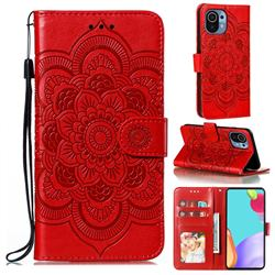 Intricate Embossing Datura Solar Leather Wallet Case for Xiaomi Mi 11 - Red