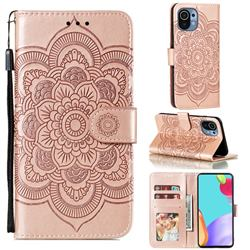 Intricate Embossing Datura Solar Leather Wallet Case for Xiaomi Mi 11 - Rose Gold