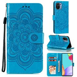 Intricate Embossing Datura Solar Leather Wallet Case for Xiaomi Mi 11 - Blue