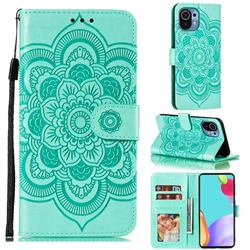 Intricate Embossing Datura Solar Leather Wallet Case for Xiaomi Mi 11 - Green