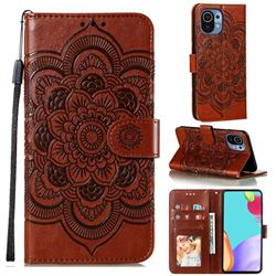 Intricate Embossing Datura Solar Leather Wallet Case for Xiaomi Mi 11 - Brown