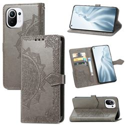 Embossing Imprint Mandala Flower Leather Wallet Case for Xiaomi Mi 11 - Gray
