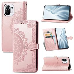 Embossing Imprint Mandala Flower Leather Wallet Case for Xiaomi Mi 11 - Rose Gold