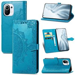 Embossing Imprint Mandala Flower Leather Wallet Case for Xiaomi Mi 11 - Blue