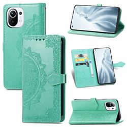 Embossing Imprint Mandala Flower Leather Wallet Case for Xiaomi Mi 11 - Green