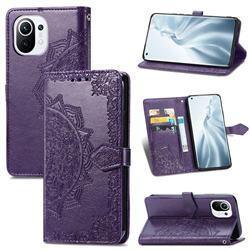 Embossing Imprint Mandala Flower Leather Wallet Case for Xiaomi Mi 11 - Purple