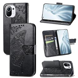 Embossing Mandala Flower Butterfly Leather Wallet Case for Xiaomi Mi 11 - Black