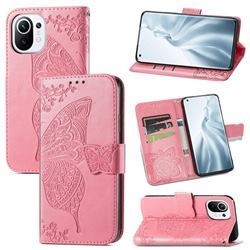 Embossing Mandala Flower Butterfly Leather Wallet Case for Xiaomi Mi 11 - Pink