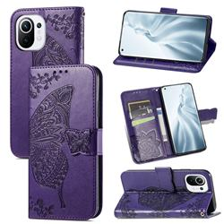 Embossing Mandala Flower Butterfly Leather Wallet Case for Xiaomi Mi 11 - Dark Purple