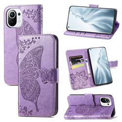 Embossing Mandala Flower Butterfly Leather Wallet Case for Xiaomi Mi 11 - Light Purple