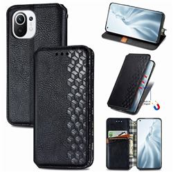 Ultra Slim Fashion Business Card Magnetic Automatic Suction Leather Flip Cover for Xiaomi Mi 11 - Black