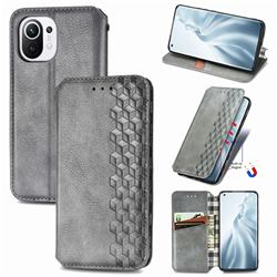 Ultra Slim Fashion Business Card Magnetic Automatic Suction Leather Flip Cover for Xiaomi Mi 11 - Grey