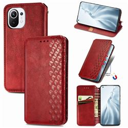 Ultra Slim Fashion Business Card Magnetic Automatic Suction Leather Flip Cover for Xiaomi Mi 11 - Red