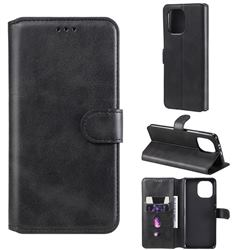 Retro Calf Matte Leather Wallet Phone Case for Xiaomi Mi 11 - Black