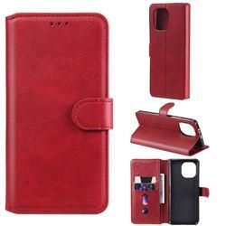 Retro Calf Matte Leather Wallet Phone Case for Xiaomi Mi 11 - Red