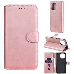 Retro Calf Matte Leather Wallet Phone Case for Xiaomi Mi 11 - Pink