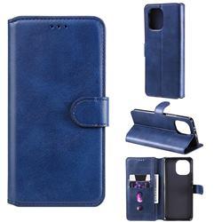 Retro Calf Matte Leather Wallet Phone Case for Xiaomi Mi 11 - Blue