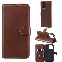 Retro Calf Matte Leather Wallet Phone Case for Xiaomi Mi 11 - Brown