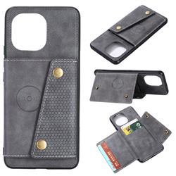 Retro Multifunction Card Slots Stand Leather Coated Phone Back Cover for Xiaomi Mi 11 - Gray