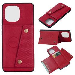 Retro Multifunction Card Slots Stand Leather Coated Phone Back Cover for Xiaomi Mi 11 - Red