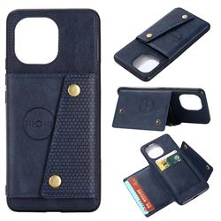 Retro Multifunction Card Slots Stand Leather Coated Phone Back Cover for Xiaomi Mi 11 - Blue